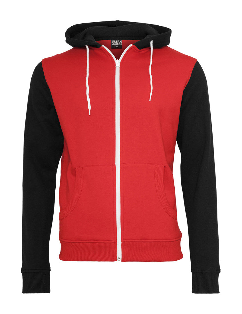 Relaxed 3-Tone Zip Hoody TB665 red/blk/wht Red