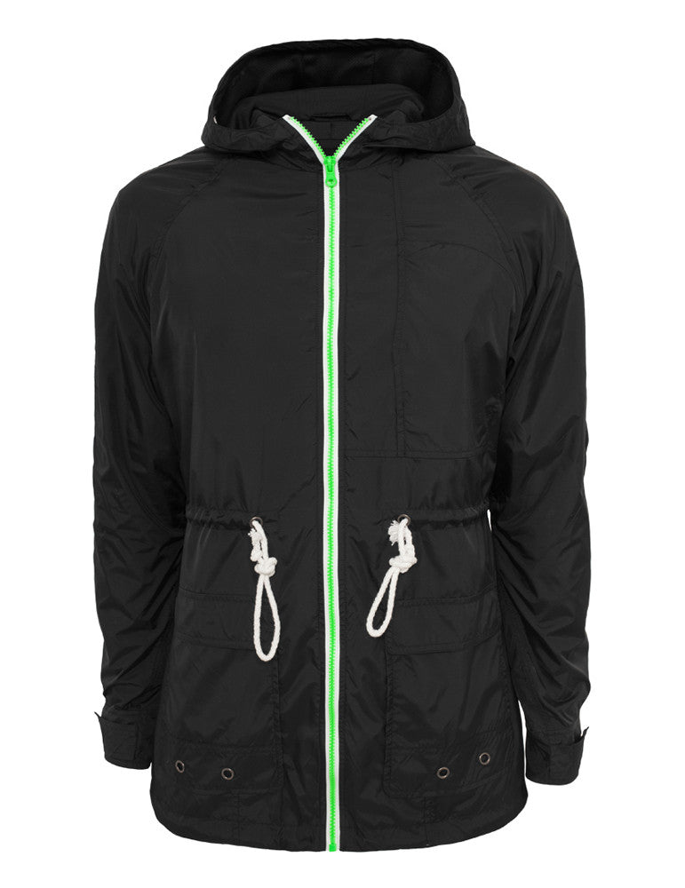 Long Nylon Windbreaker TB670 blk/mint/wht Black