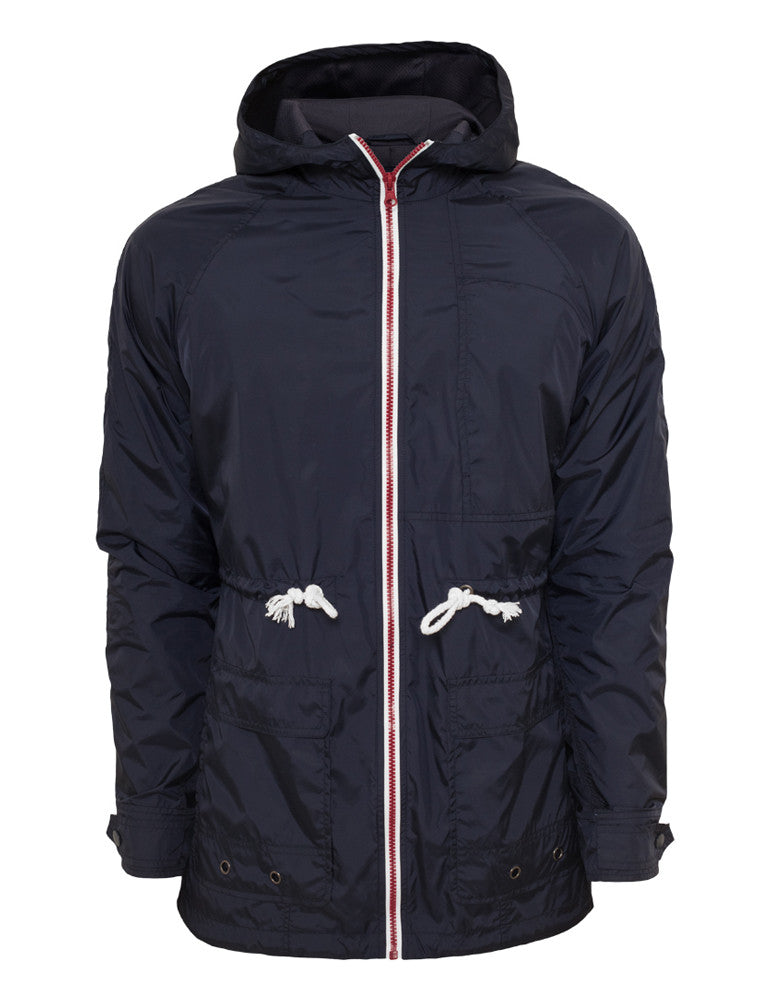 Long Nylon Windbreaker TB670 navy/ruby/wht Navy