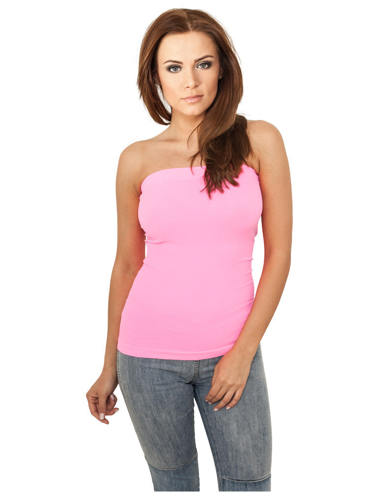 Ladies Neon Strapless Top TB687 neonpink Pink