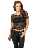 Ladies Short Mesh Top TB689 black Black