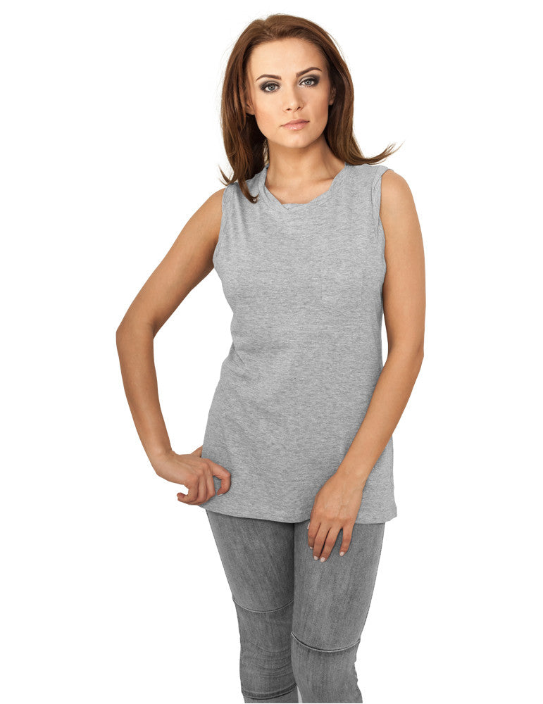 Ladies Sleeveless Pocket Tee TB702 grey Grey