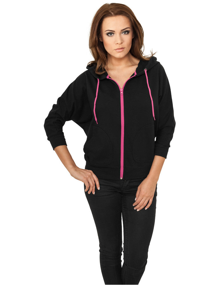 Ladies Bat 3/4 Sleeve Zip Hoody TB743 blk/fuc Black