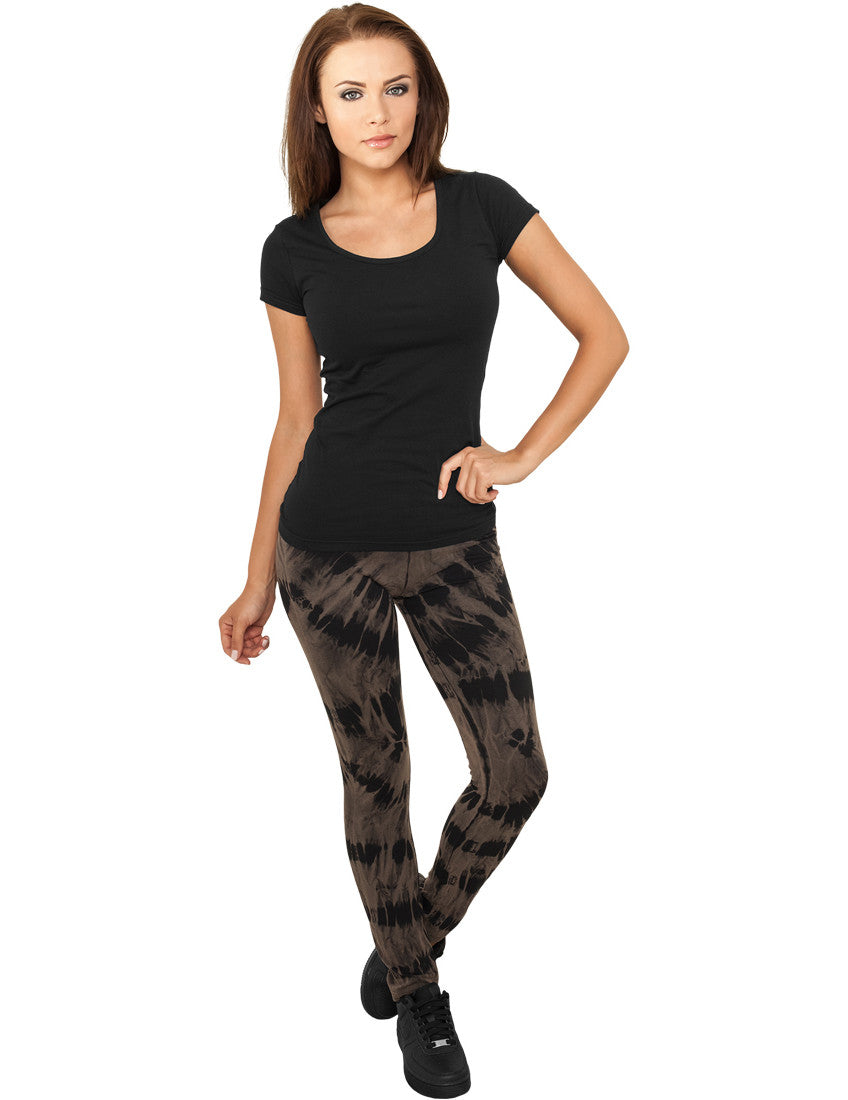 Ladies Acid Wash Splash Leggings TB779 blk/gry Black