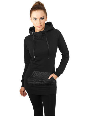 Ladies Long Leather Imitation Pocket Hoody TB792 blk/blk Black