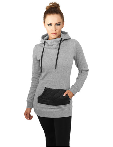 Ladies Long Leather Imitation Pocket Hoody TB792 gry/blk Grey