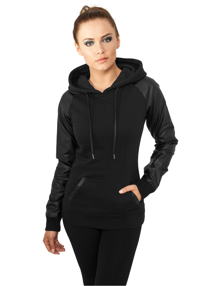 Ladies Raglan Leather Imitation Hoody TB800 blk/blk Black