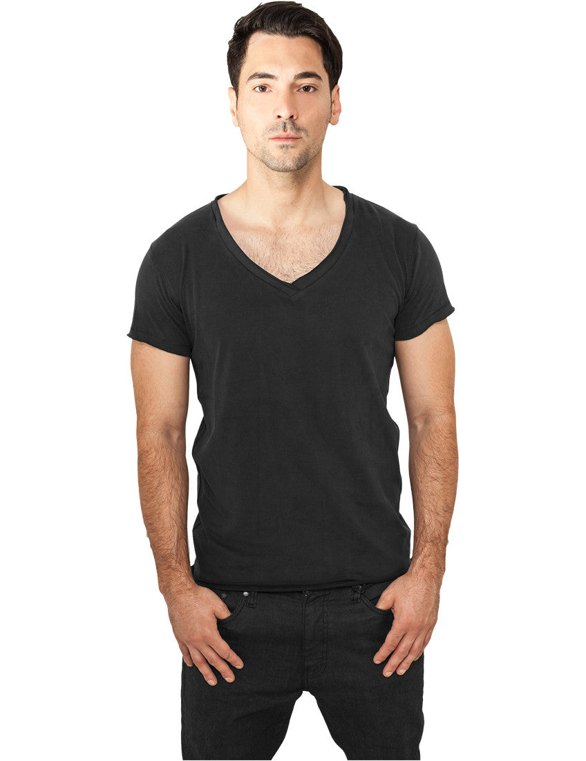 Fitted Peached Open Edge V-Neck Tee TB813 black Black