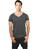 Fitted Peached Open Edge V-Neck Tee TB813 darkgrey Grey