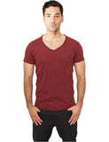 Fitted Peached Open Edge V-Neck Tee TB813 burgundy Brown