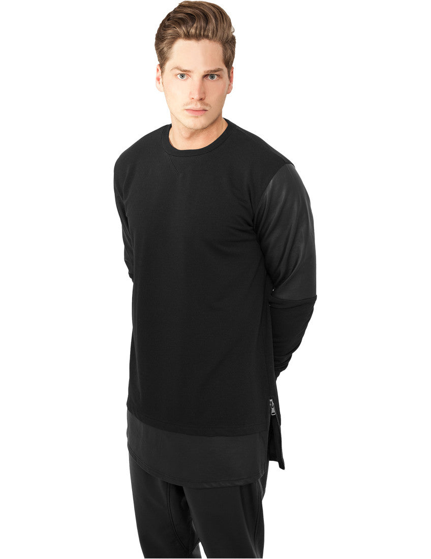Long Zipped Leather Imitation Crewneck TB821 blk/blk Black