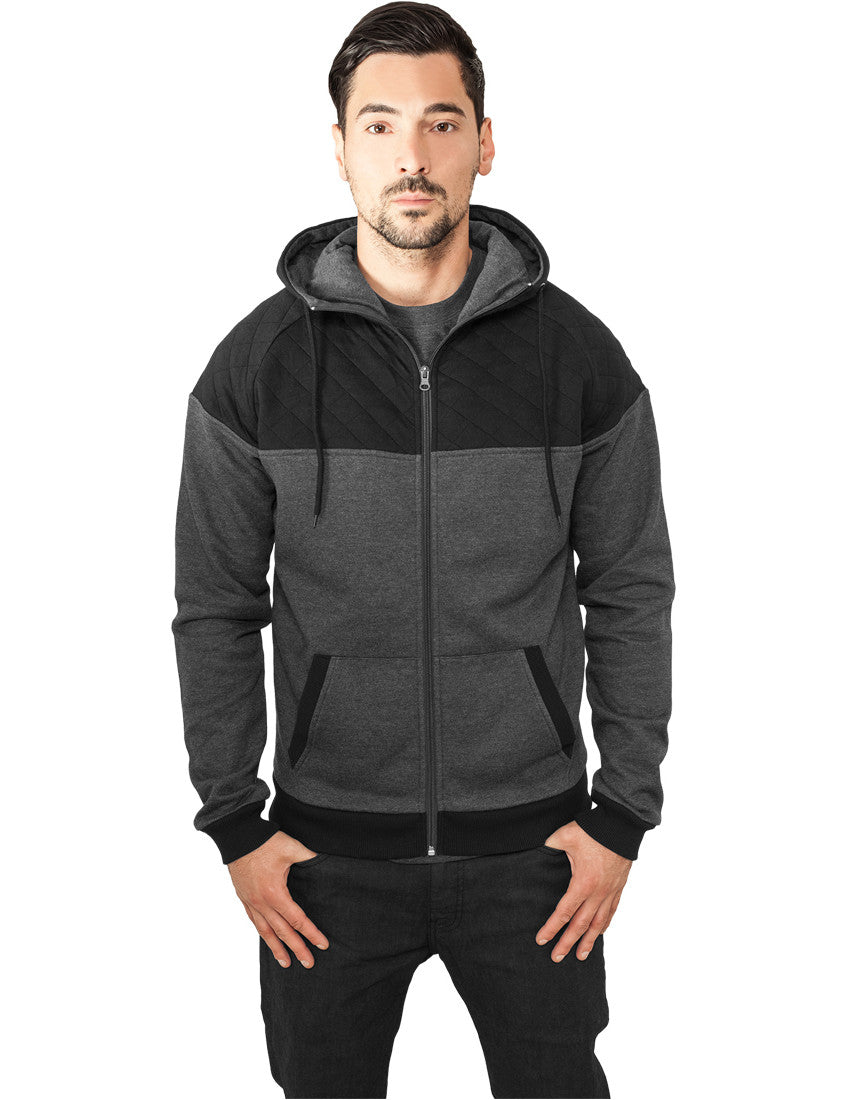 Diamond Block Zip Hoody TB829 cha/blk Grey