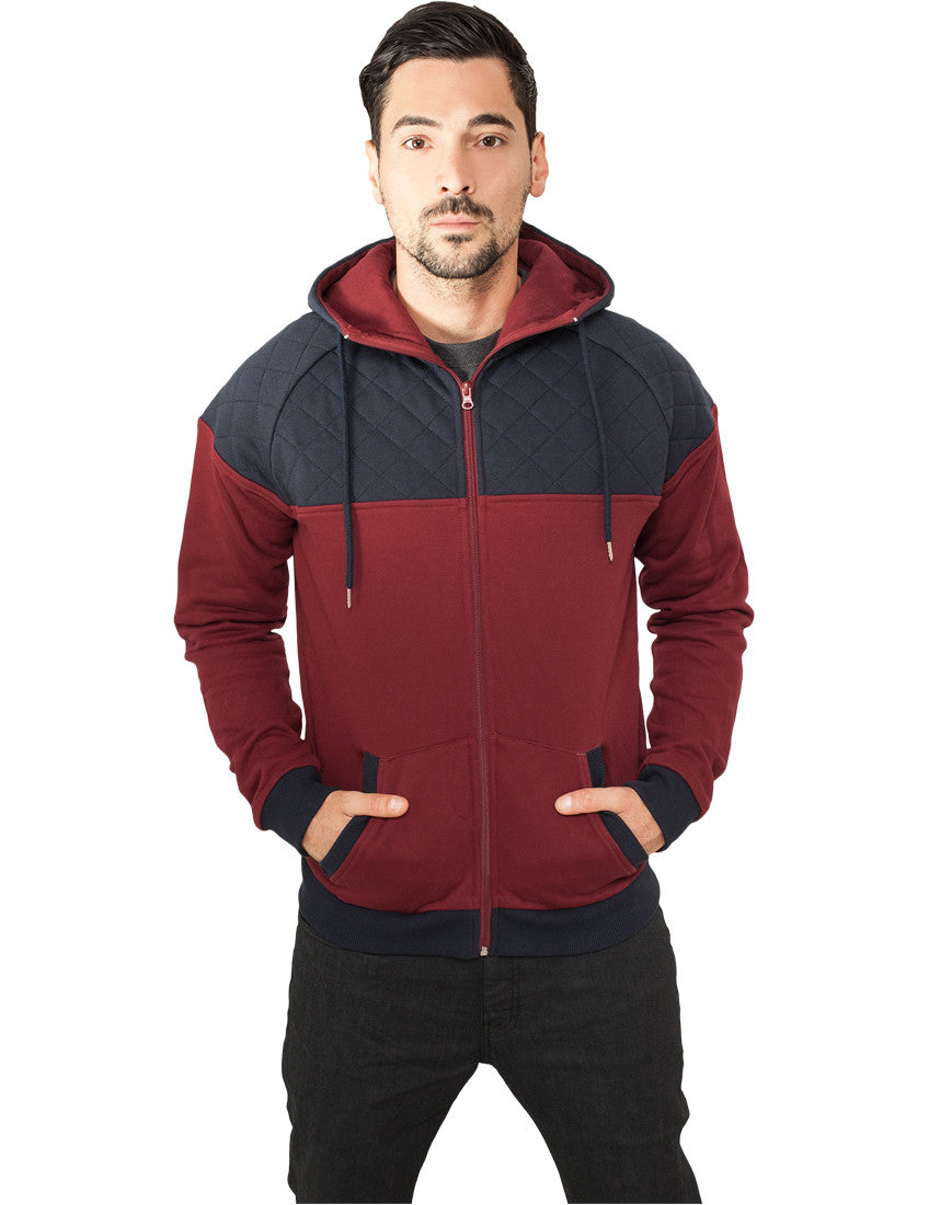 Diamond Block Zip Hoody TB829 burgundy/navy Brown