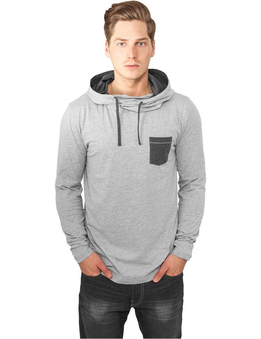 High Neck Pocket Hoody TB831 gry/cha Grey