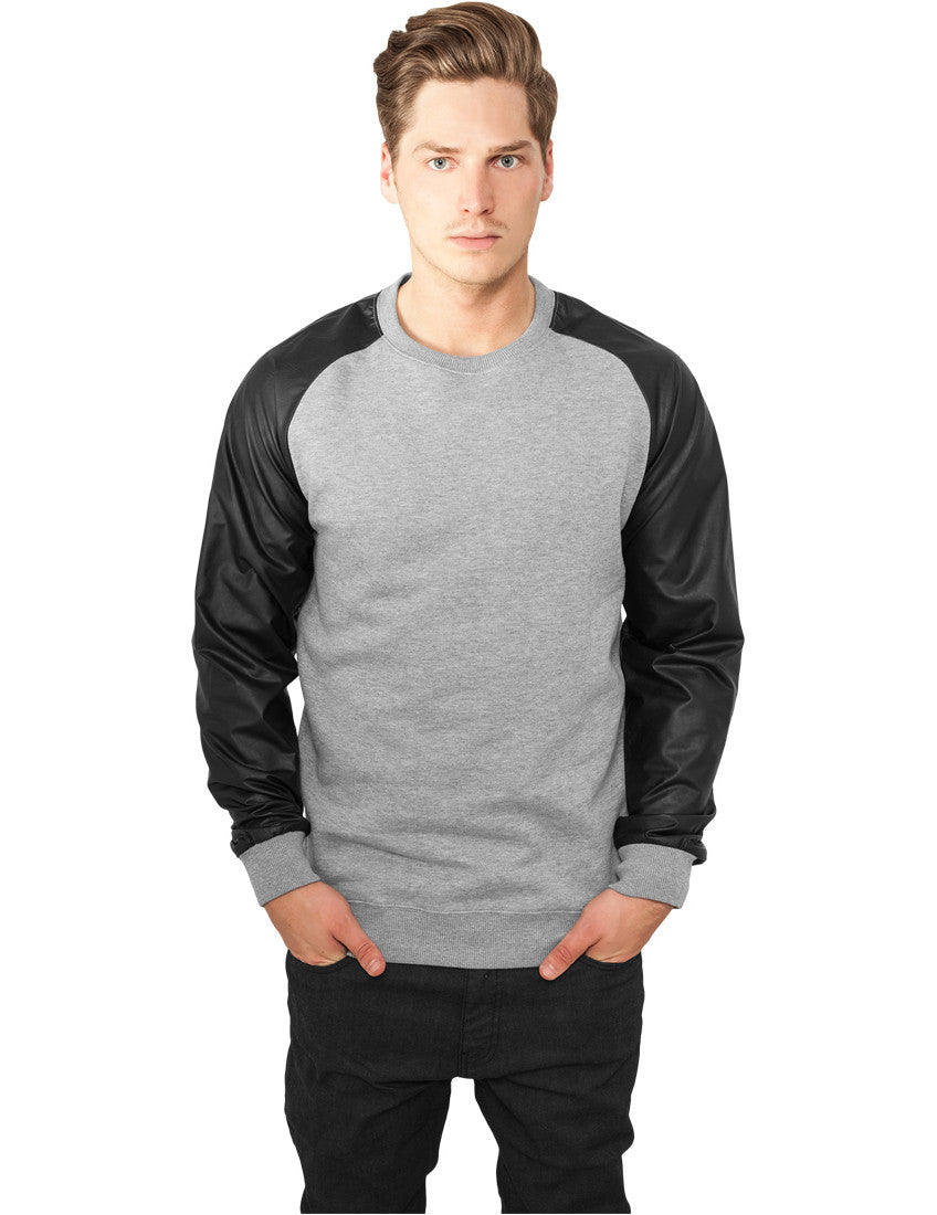 Raglan Leather Imitation Crew TB845 gry/blk Grey