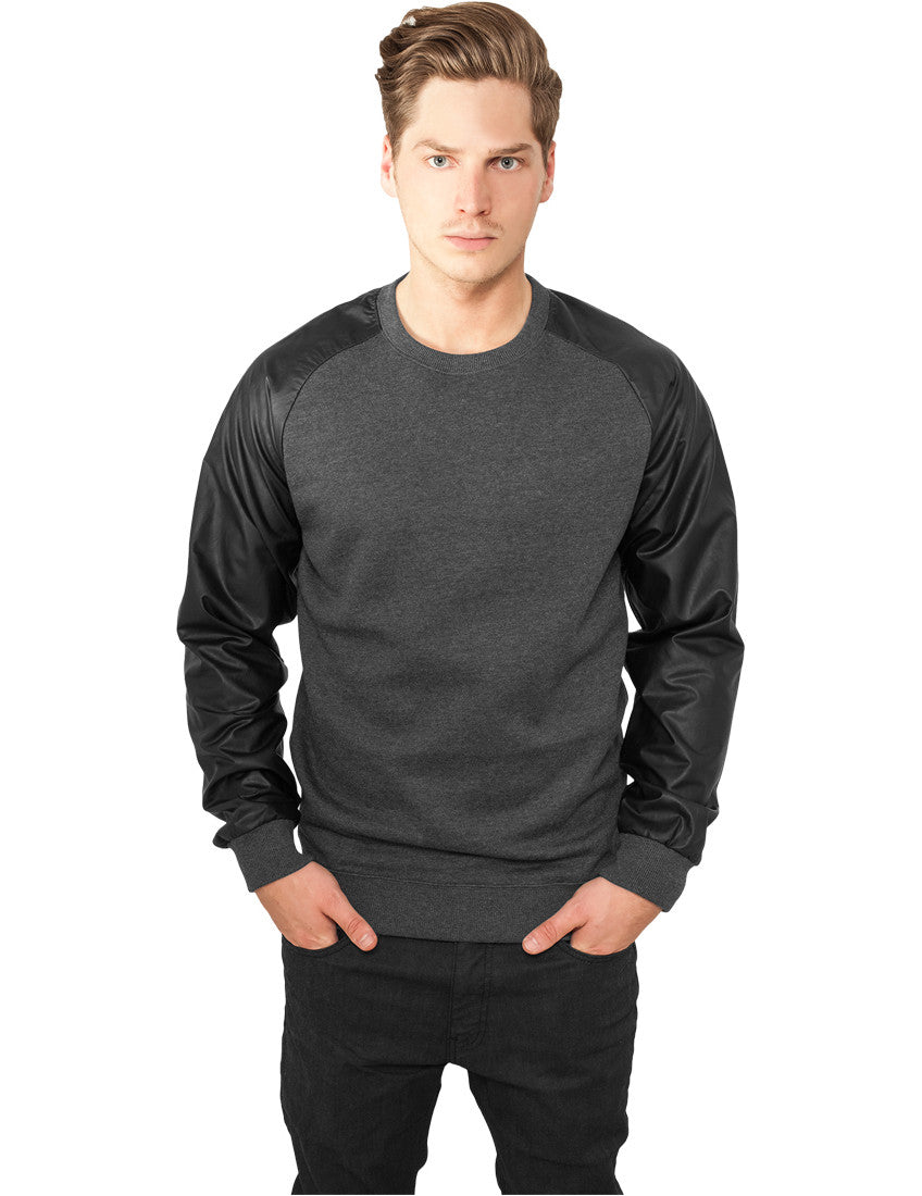 Raglan Leather Imitation Crew TB845 cha/blk Grey