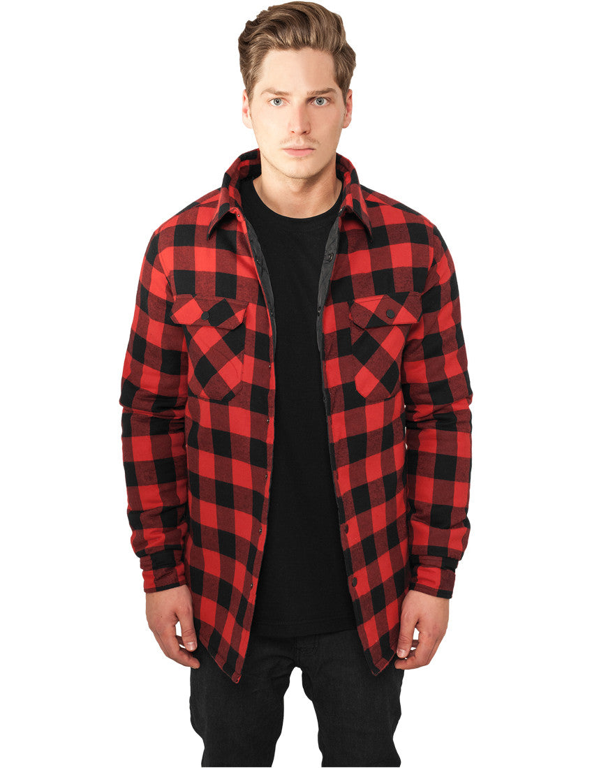 Padded Checked Flanell Light Jacket TB856 blk/red Black