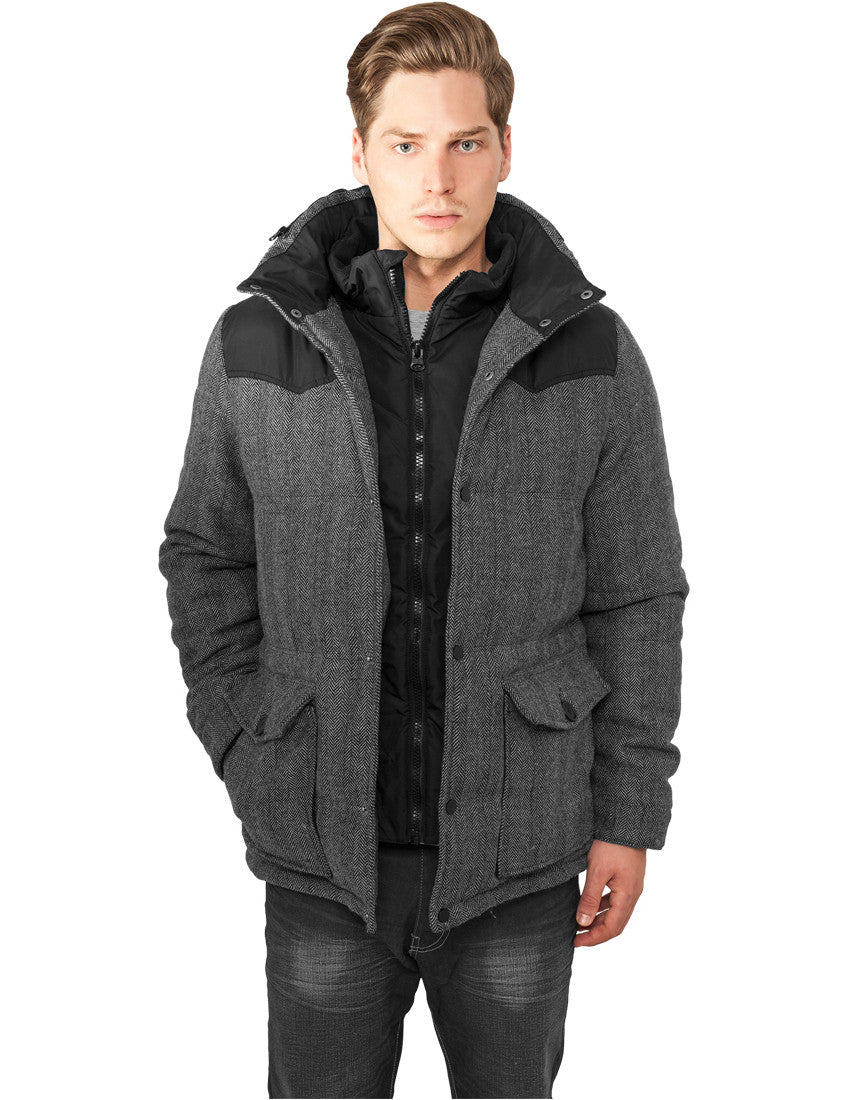 Material Mixed Winter Jacket TB891 gry/blk Grey