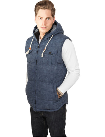Chambray Lined Melange Bubble Vest TB893 blue melange Blue