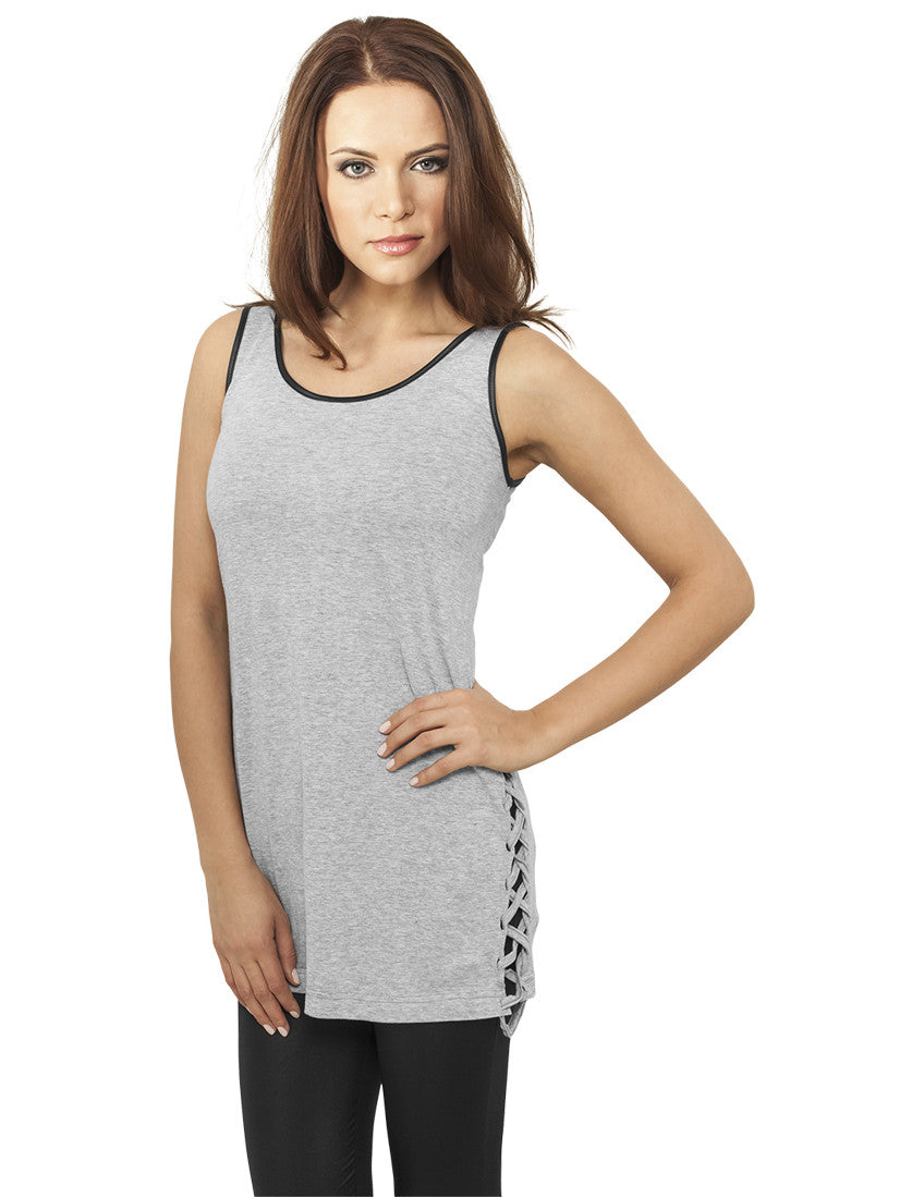Ladies Leather Imitation Side Knotted Tank TB904 gry/blk Grey