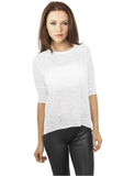 Ladies 3/4 Sleeve Wide Burnout Tee TB926 white White