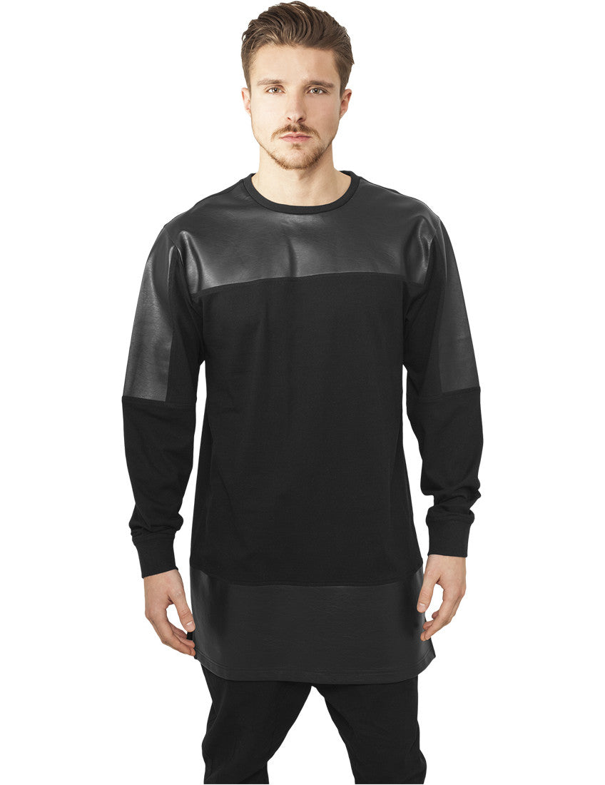 Leather Imitation Block Longsleeve TB981 blk/blk Black