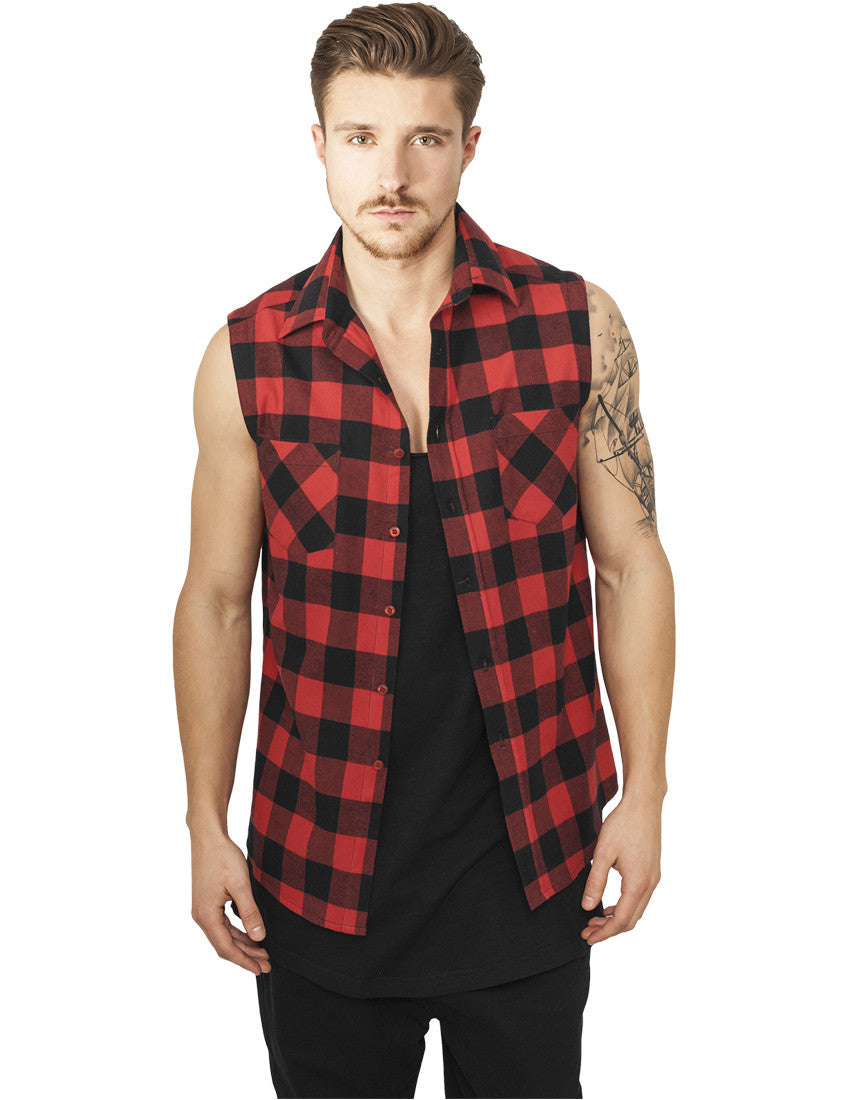 Sleeveless Checked Flanell Shirt TB999 blk/red Black