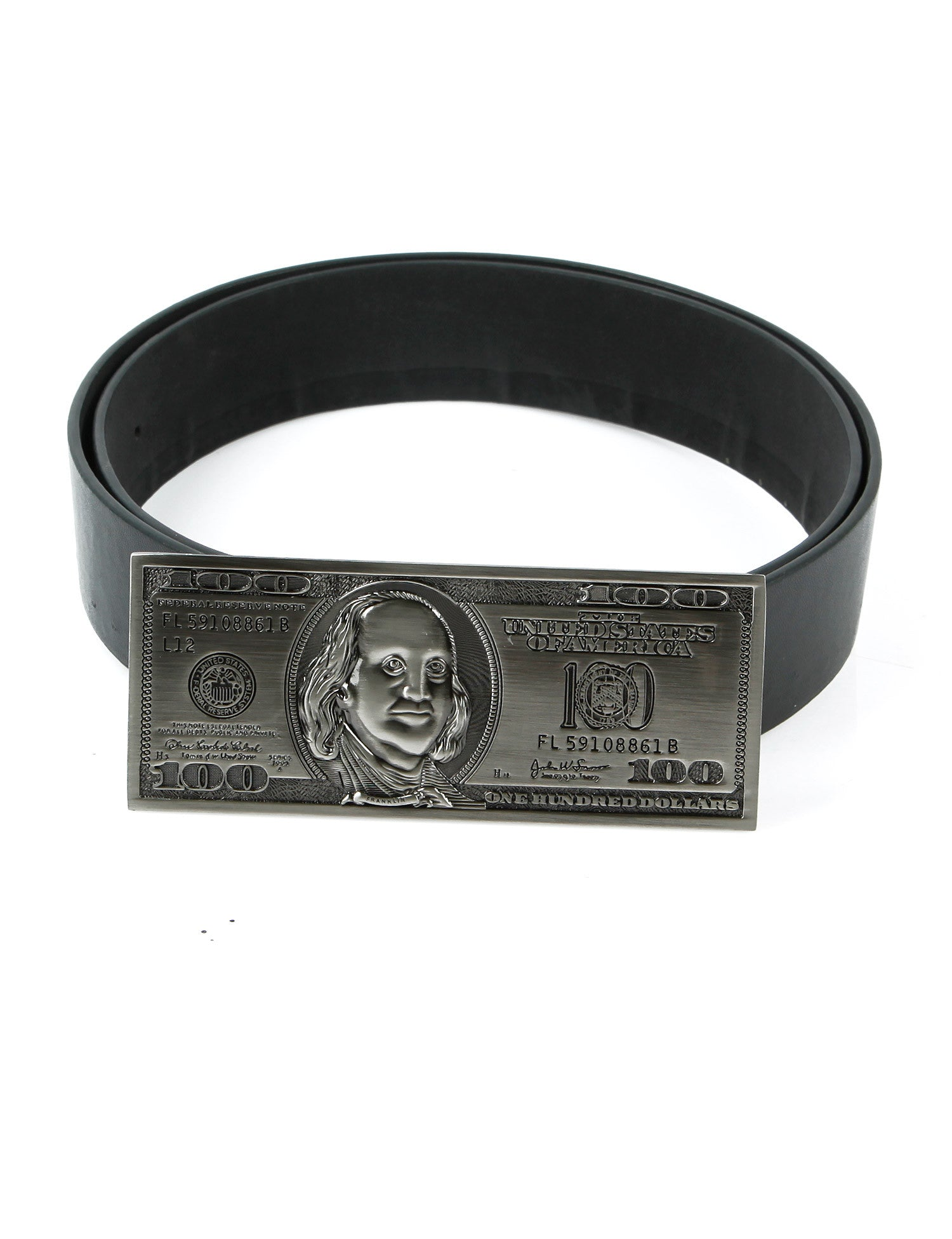 100 Dollar Bill Belt Buckle Silver