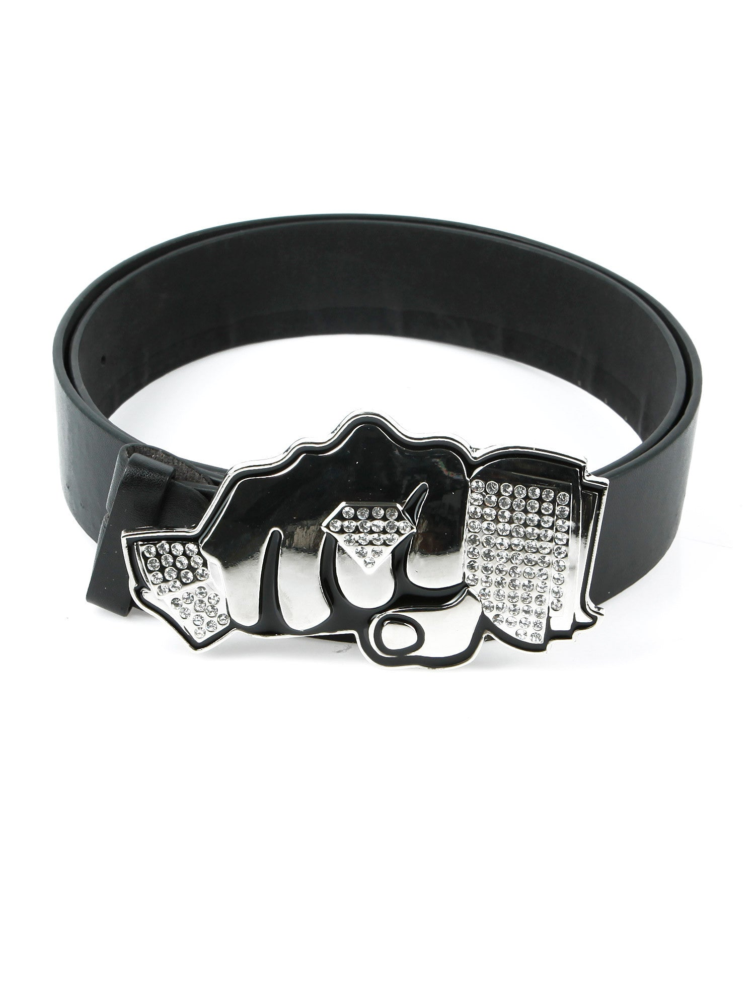 Punch Diamond Belt Buckle Silver