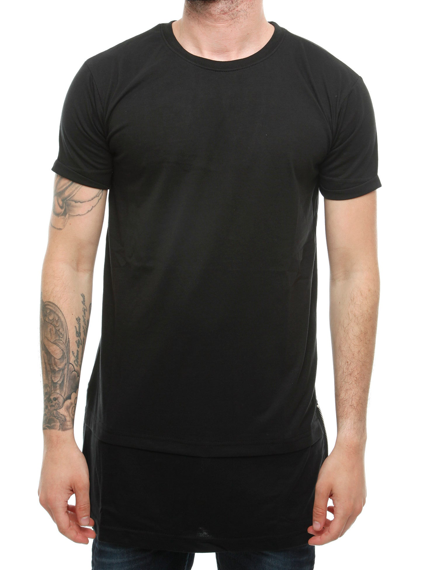 Townz Long Contract  Tee with Zipper TNZ16-013 Black