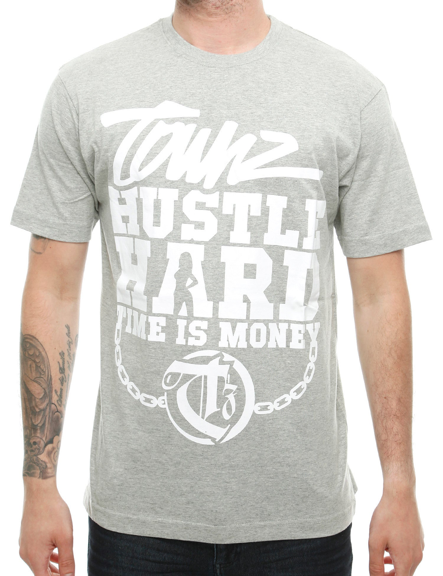 Townz Hustle Hard T-Shirt TNZ16-002 Grey