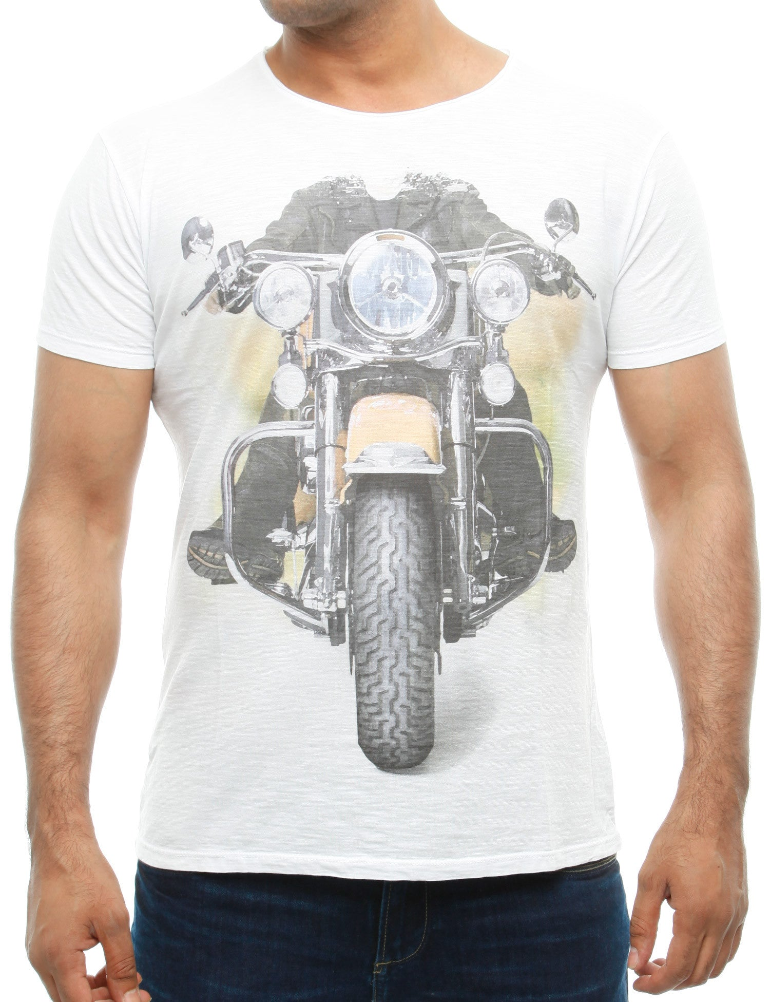 French Fashion Motorbike T-Shirt White