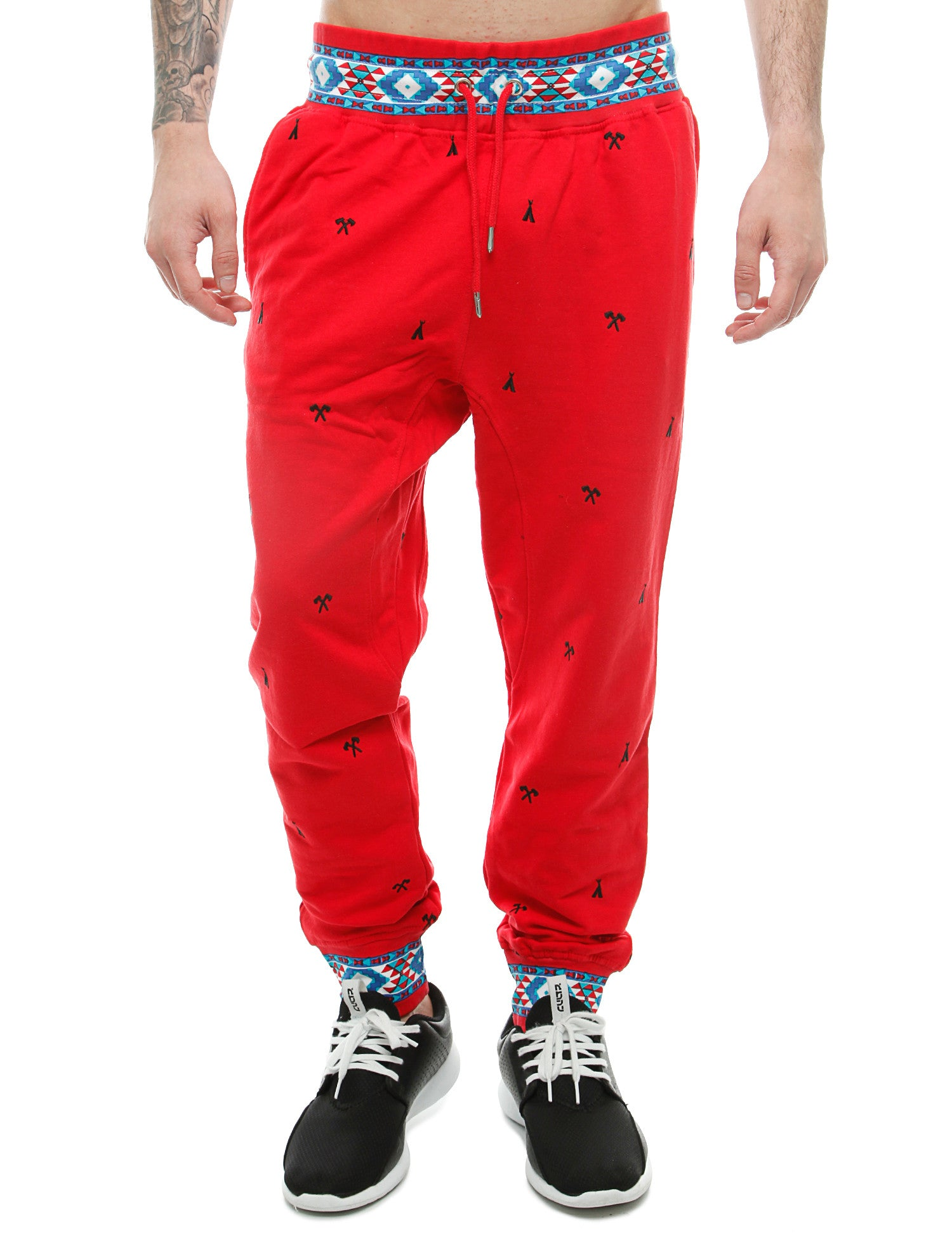 Imperious Ribbed Aztec Jogger FP503 Red