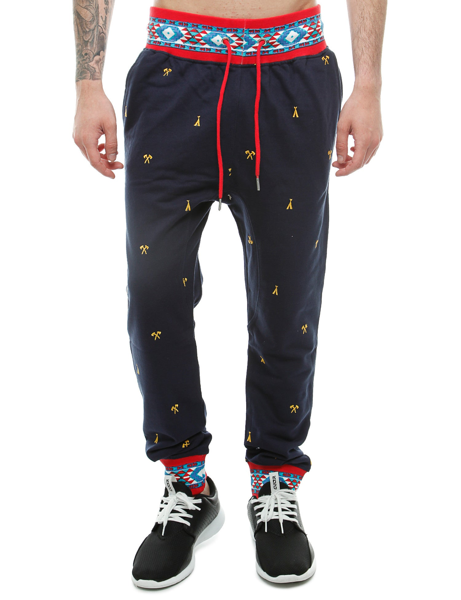 Imperious Ribbed Aztec Jogger FP503 Navy
