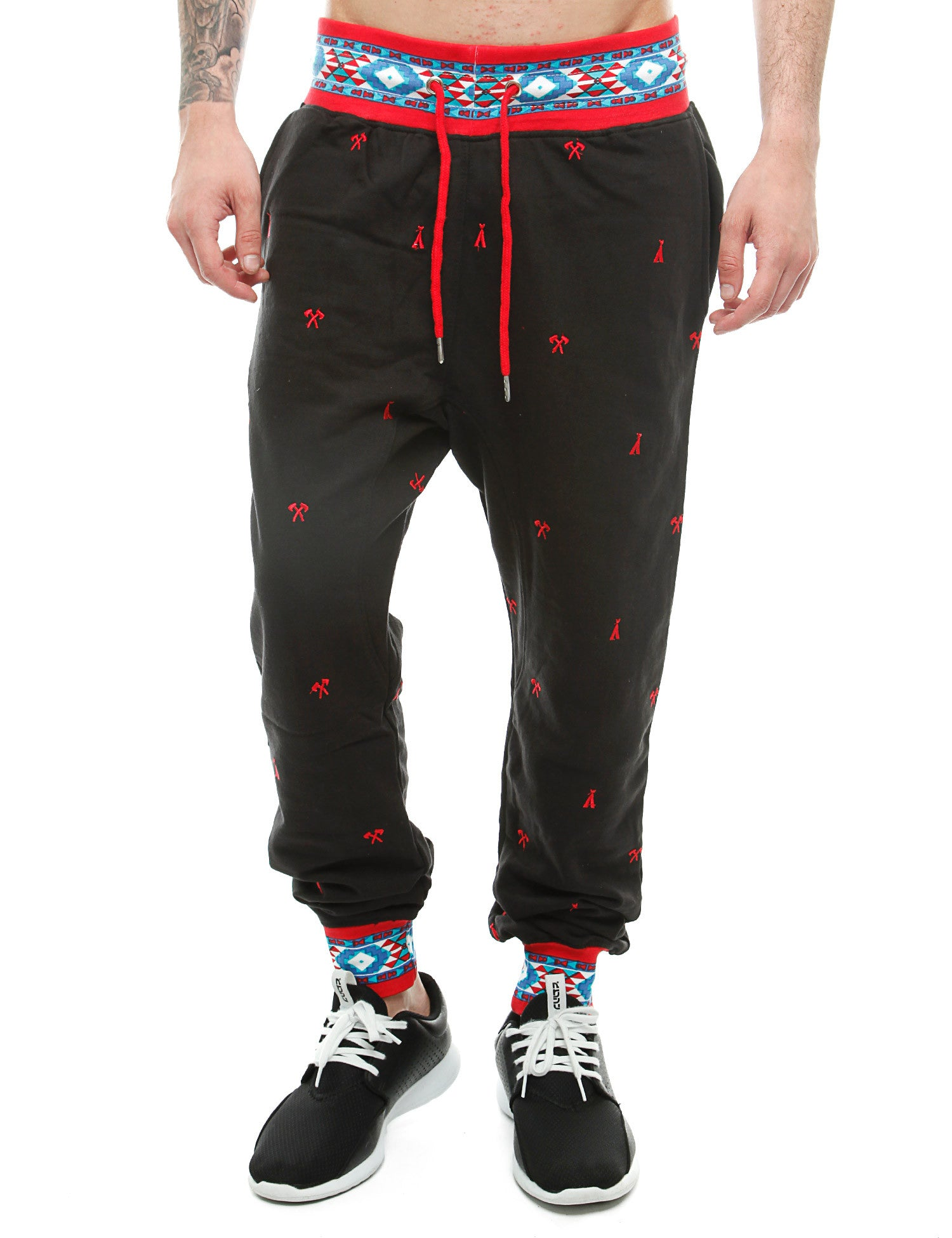 Imperious Ribbed Aztec Jogger FP503 Black