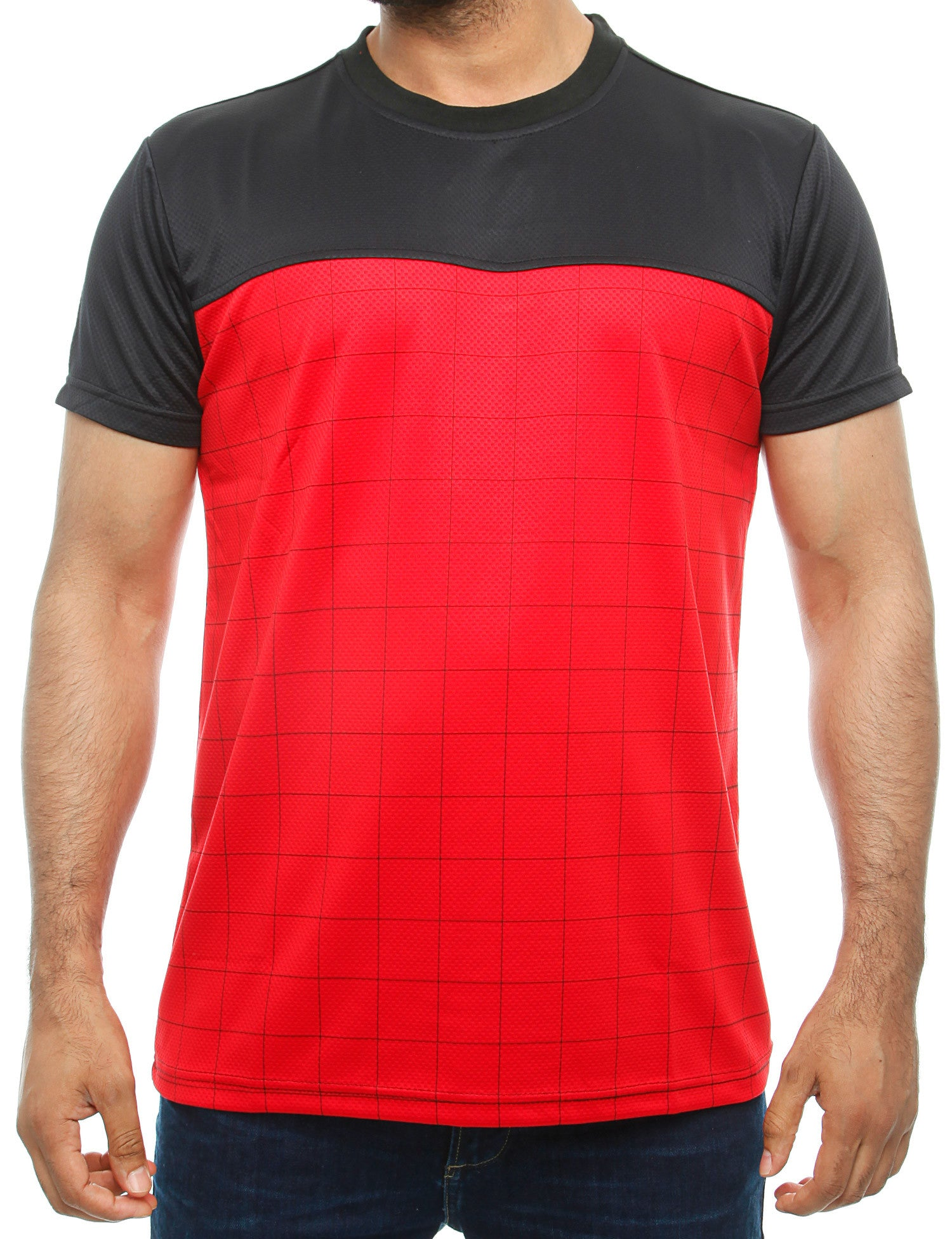 Imperious Mesh Color Block T-Shirt Red