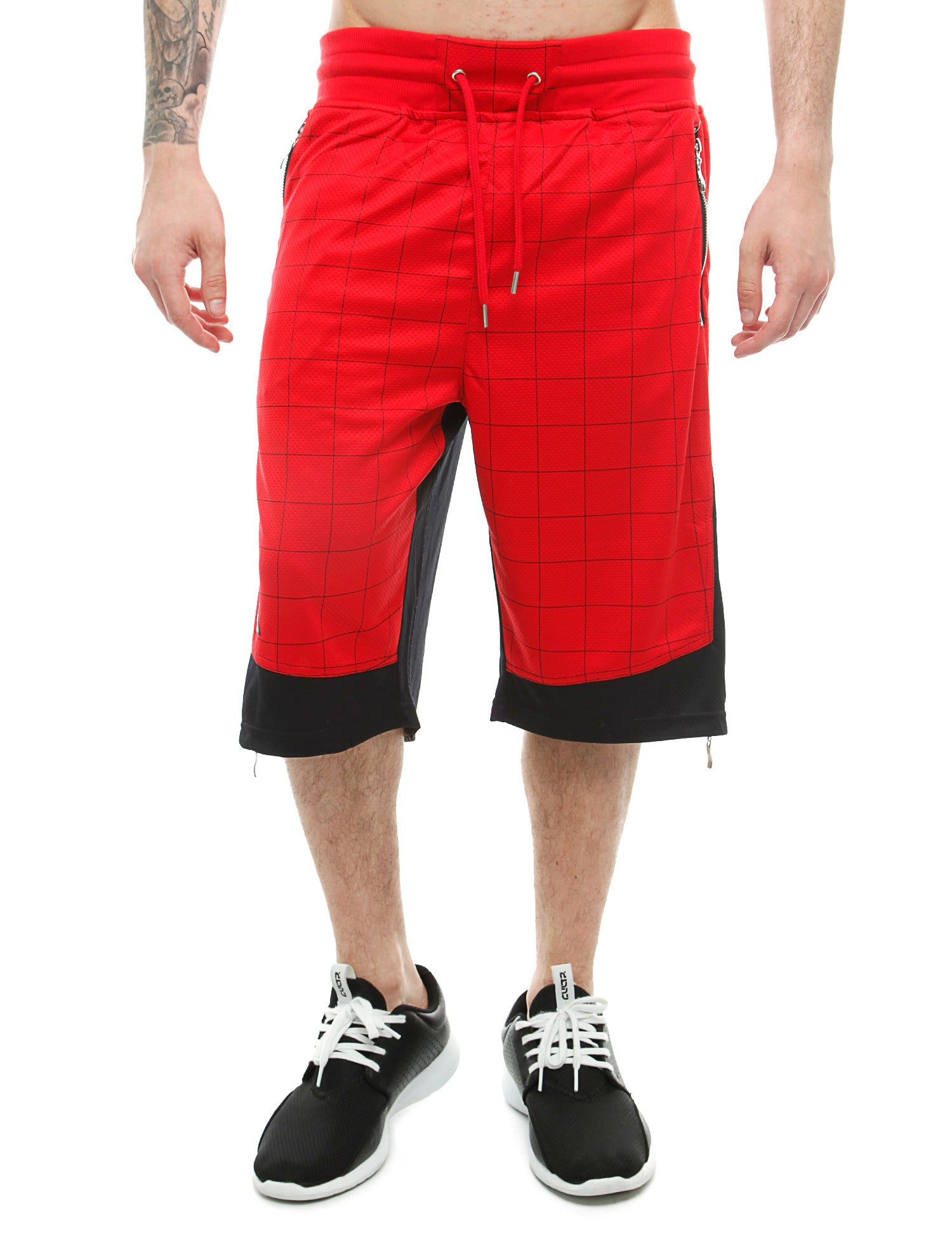 Imperious Mesh Color Block Shorts Red