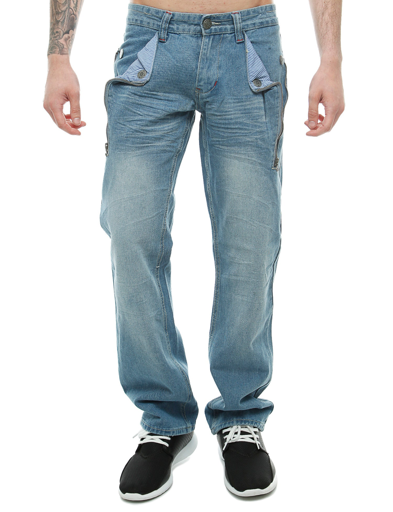 Imperious Flap Pocket Washed Denim Jeans Lt. Blue