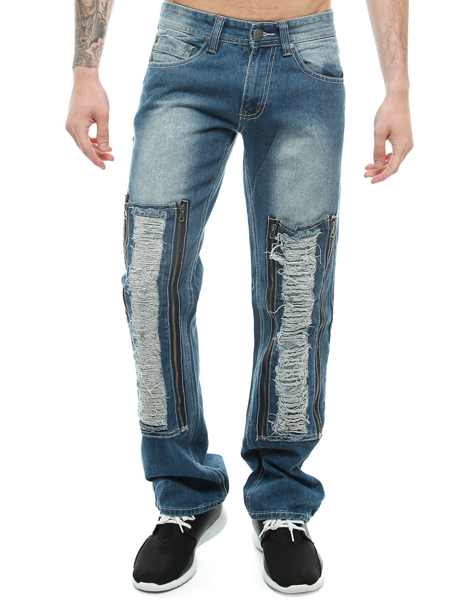Imperious Rip W/ Zipper Patched Jeans Blue