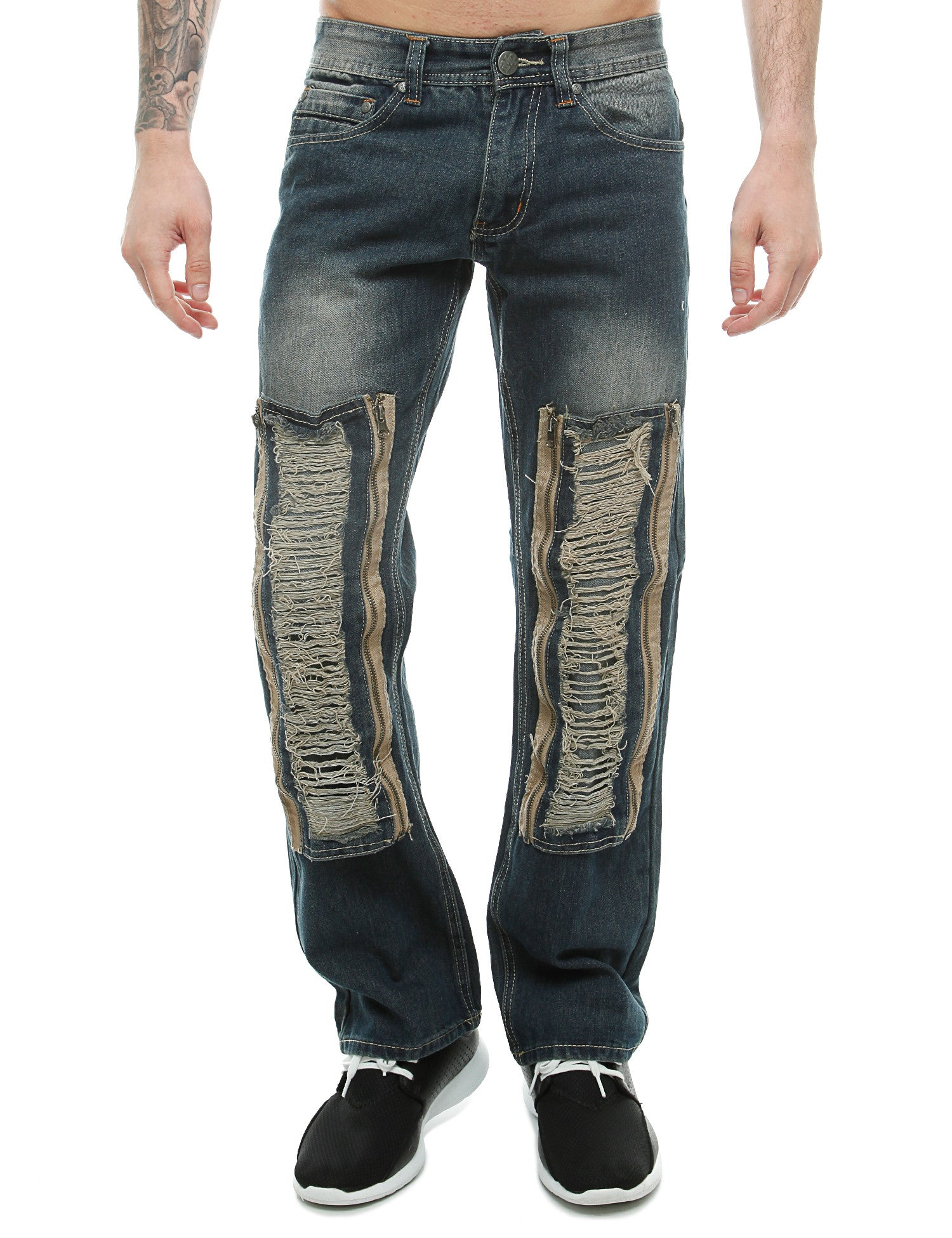 Imperious Rip W/ Zipper Patched Jeans Vintage Blue