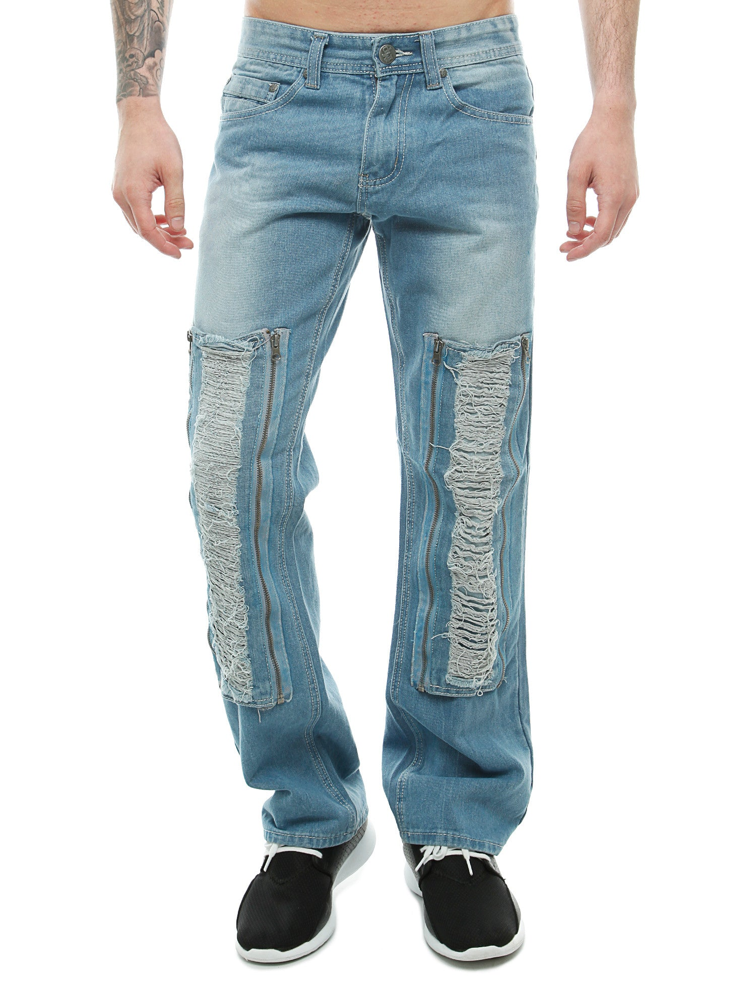 Imperious Rip W/ Zipper Patched Jeans Lt. Blue