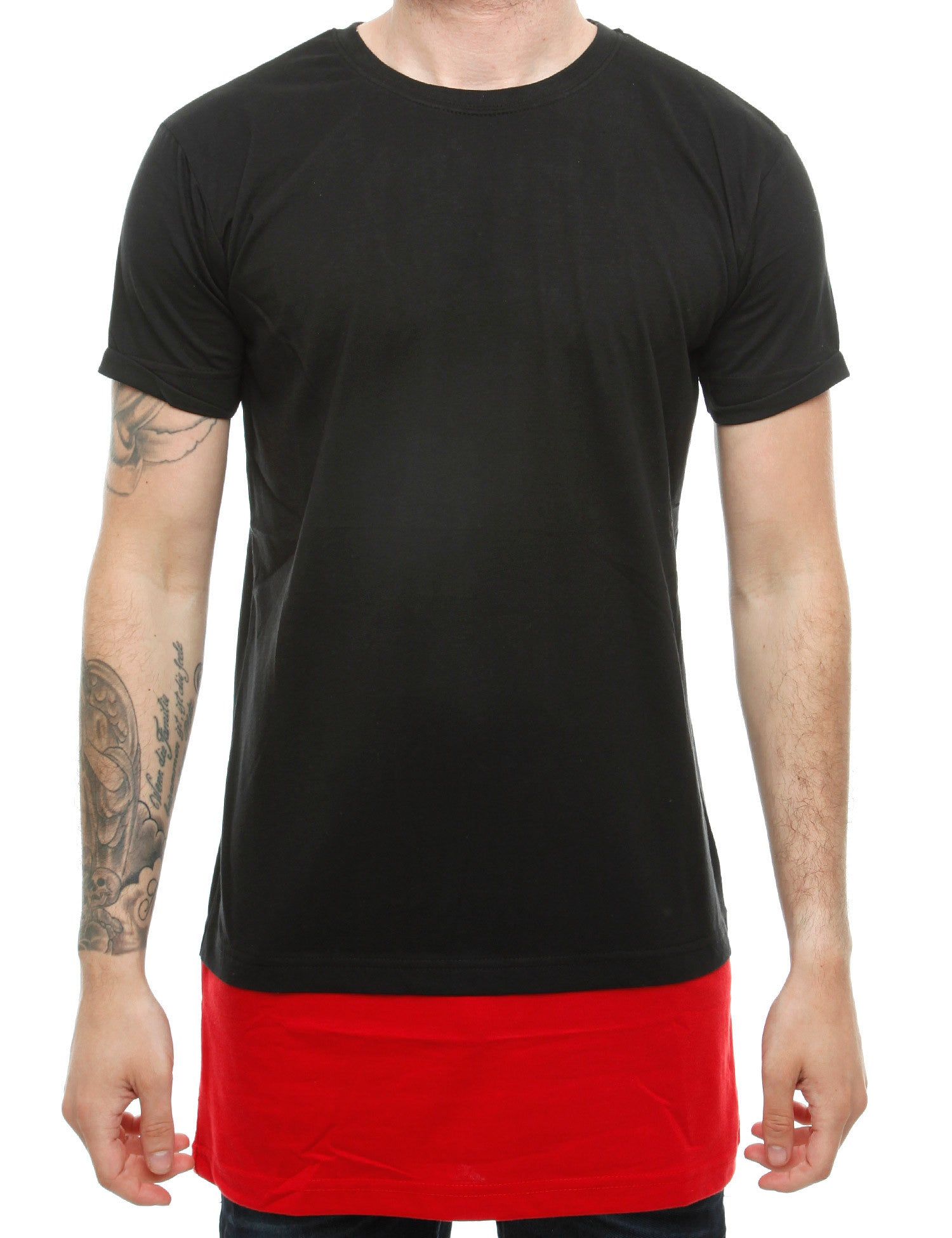 Raw Blue Long Contrast Tees RB16-019 Black Red