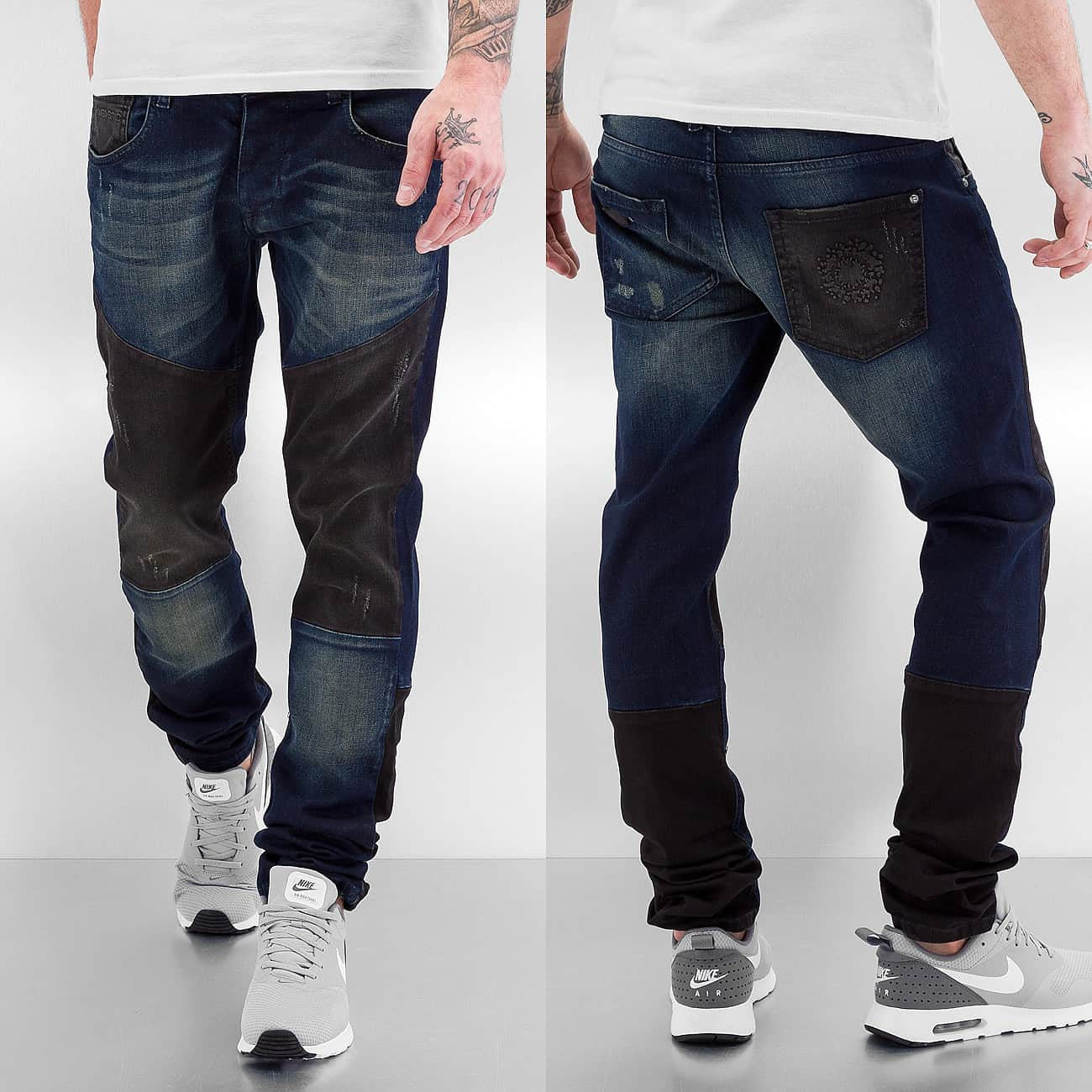 Bangastic  2 Tone Straight Fit Jeans  Blue