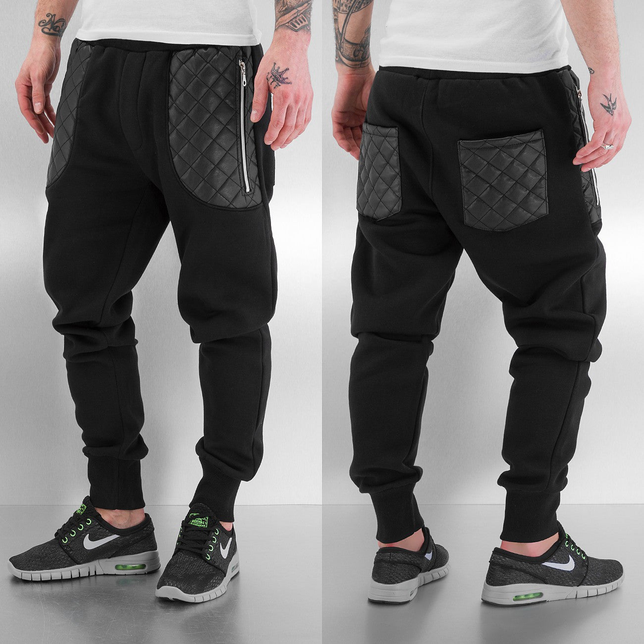Just Rhyse PU Zip Pockets Sweat Pants   Black