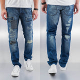 Just Rhyse Patch Straight Fit Jeans  Blue
