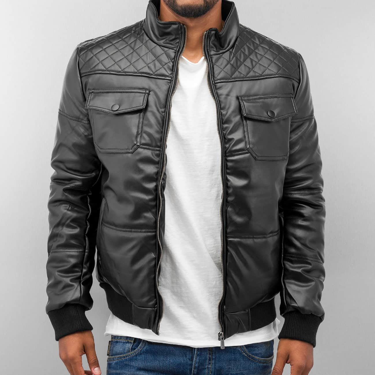 Dangerous DNGRS PU Leather Winter Jacket Black Black