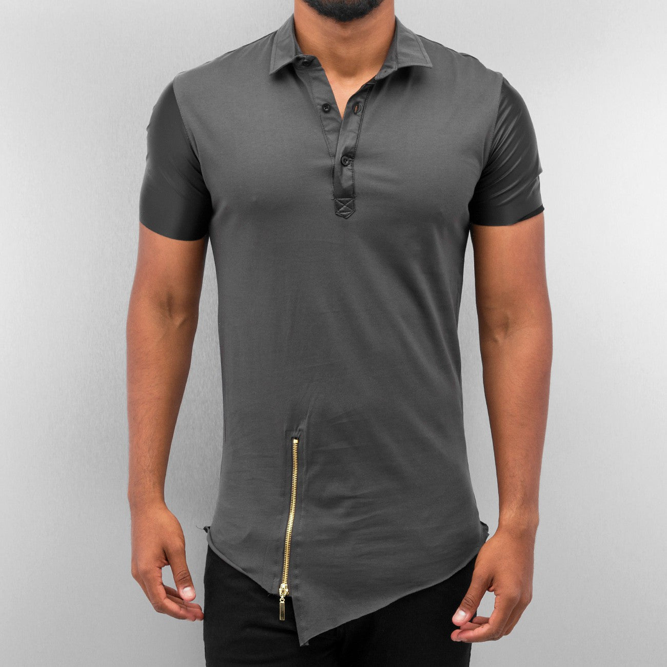 Bangastic PU Polo Shirt  Grey
