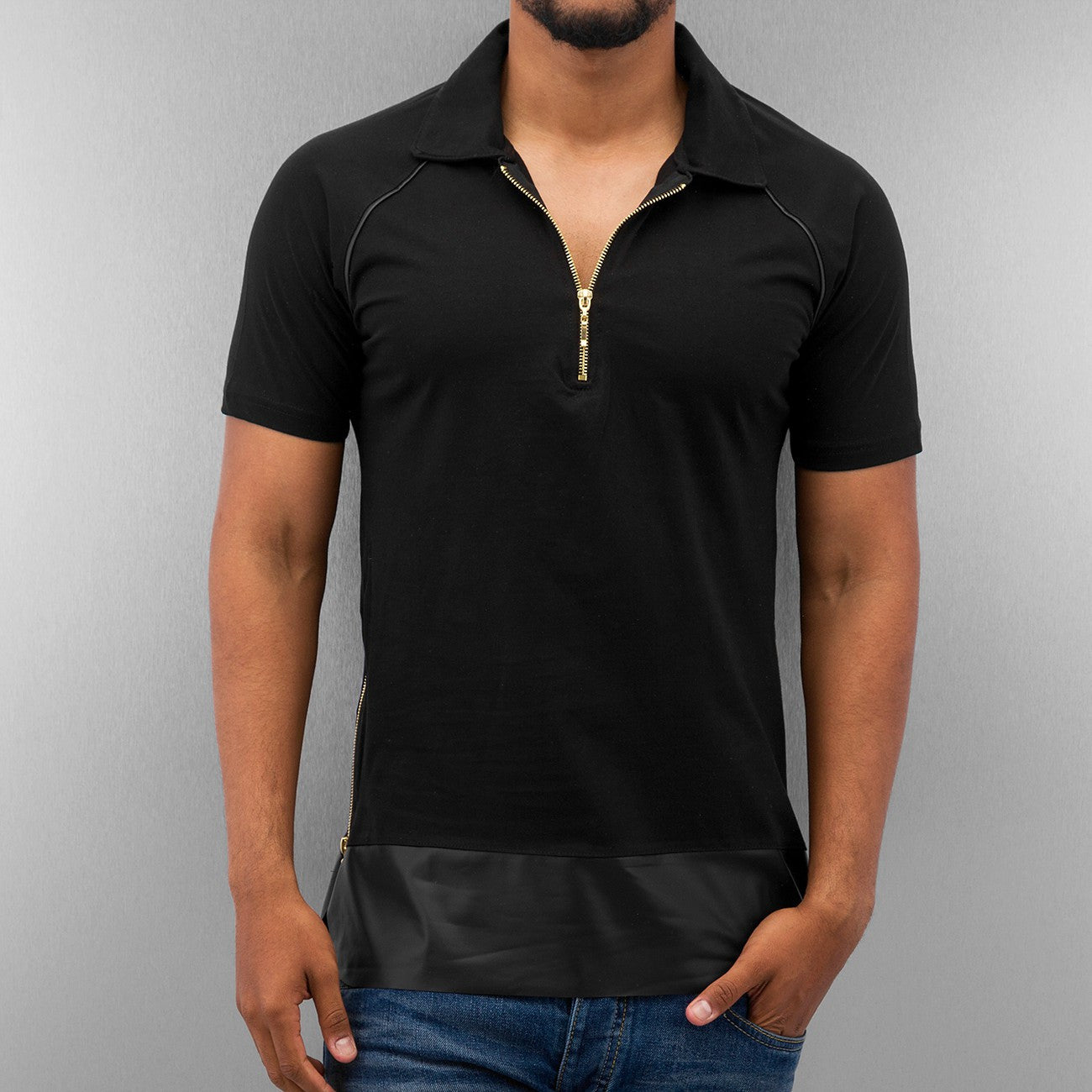 Bangastic PU Polo Shirt Shirt  Black