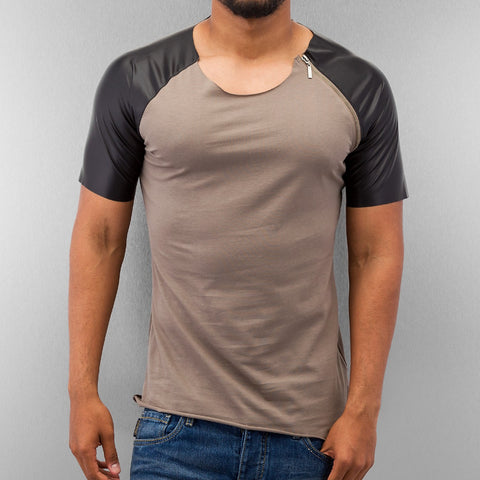 Bangastic PU Sleeve T-Shirts  Grey