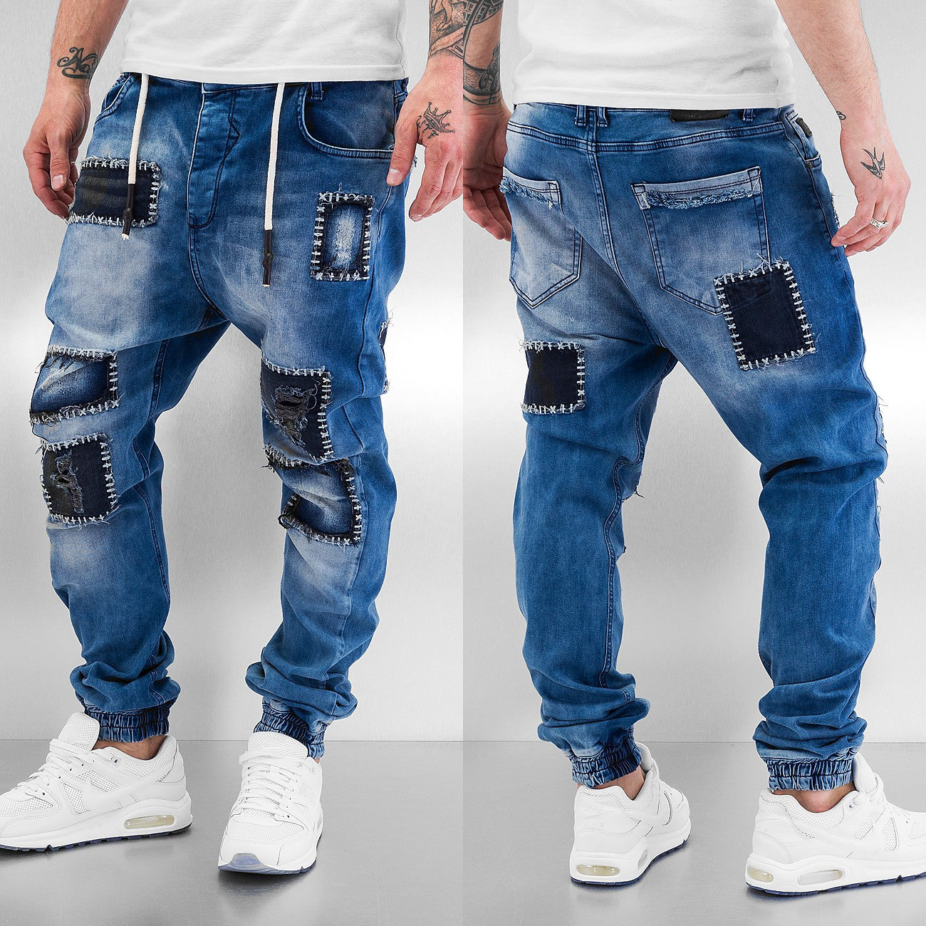 Just Rhyse Patches Straight Fit Jeans  Blue
